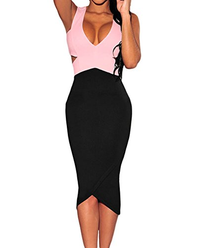 Womens Black White Sexy V-Neck Cut-Out Sleeveless Midi Dress (Large, Black+Pink)
