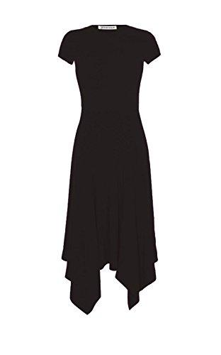 Midi Short New Womens Sleeve Hem Flared Long Summer Dress Swing Hanky Black Plain Top xZTT1wR