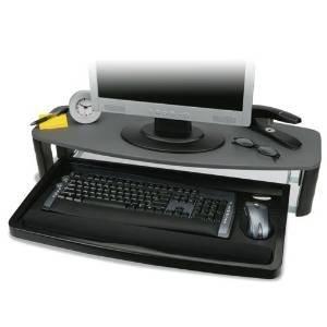 Kensington 60717 Over/Under Keyboard Drawer with SmartFit System, 14-1/2w x 23d, Black