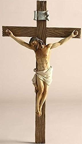 Jesus Nailed On The Cross Resin Wall Crucifix, 14 Inch (Statue Of Jesus Christ On The Cross)