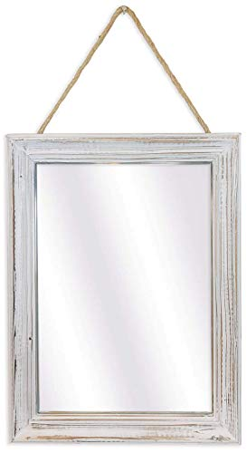 Decorative Rustic Mirror For Walls - 16x12 inch Wood Framed Mirror with Hanging Rope Enhances Your Farmhouse Decor – The…