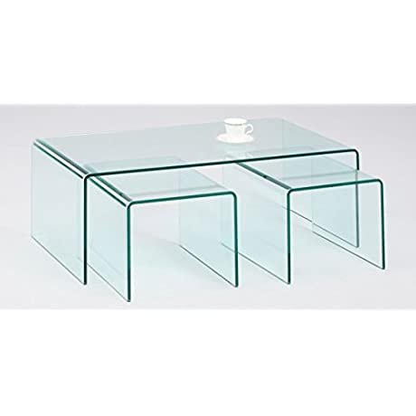 Milan Libby Nested Bent Cocktail Table 3Piece Set Glass