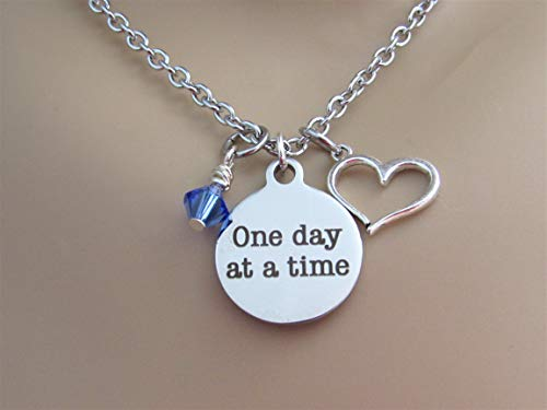 One Day At A Time Stainless Steel Laser Engraved Circle Necklace With Silver Heart Charm and Swarovski Crystal Motivational Recovery Strength Necklace