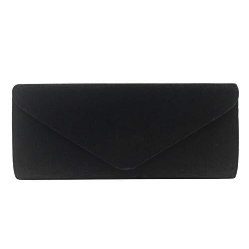 en Pochette Main Enveloppe Velours à Sac Baguette Noir Noir Style Besace rtXq0rx