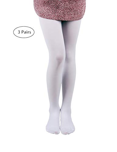 3 Pairs Pack Girls Microfiber Tights (White, 11-13)