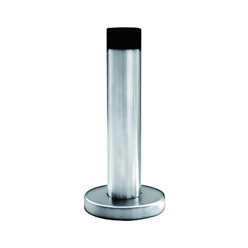 Premium Modern Stainless Steel Door Stop - Wall or Door mounted, Rubber Tip makes it perfect for glass shower doors, Brushed finish