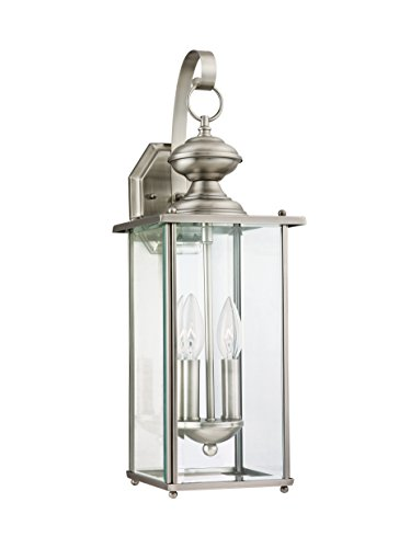 2 Light Beveled Glass (Sea Gull Lighting 8468-965 Jamestowne Two-Light Outdoor Wall Lantern with Clear Beveled Glass Panels, Antique Brushed Nickel Finish)