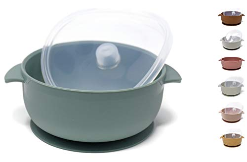 The Dearest Grey, Modern Toddler Silicone Baby Bowls, Best Stay Put Suction Bowl, for Babies, Kids & Toddlers, Comes with 100% Leak Proof lid, Dishwasher & Microwave Safe (Sea Green)