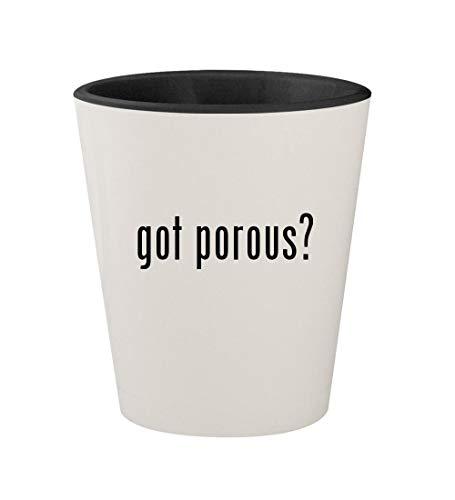 got porous? - Ceramic White Outer & Black Inner 1.5oz Shot Glass - Clay Pens Papermate
