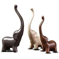 Langde Statuette in Ceramica a Forma di Elefantini, Design Moderno Accessori, Set di 3 Pezzi Animale, Decorazione Regalo - Bianco Grigio Marrone