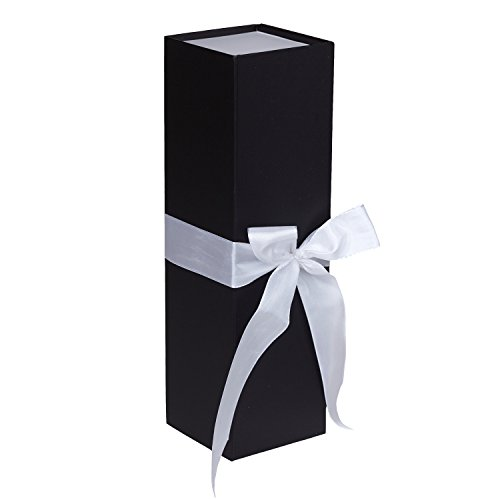 Jillson Roberts 24-Count Wine & Bottle Gift Boxes Available in 3 Colors, Black Matte with White Ribbon by Jillson Roberts