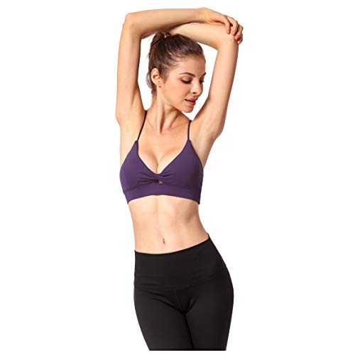 (Deep V Braided Button Design Women Strappy Sports Camisole Workout Running Bra (Purple, L))