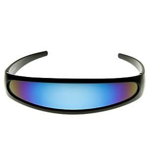 zeroUV - Futuristic Narrow Cyclops Color Mirrored Lens Visor Sunglasses (Black Ice)