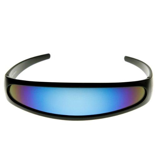 zeroUV - Futuristic Narrow Cyclops Color Mirrored Lens Visor Sunglasses (Black - Manufacturers Sunglass Best