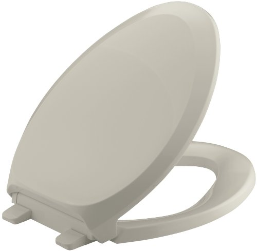 KOHLER K-4713-G9 French Curve Quiet-Close with Grip-Tight Bumpers Elongated Toilet Seat Sandbar