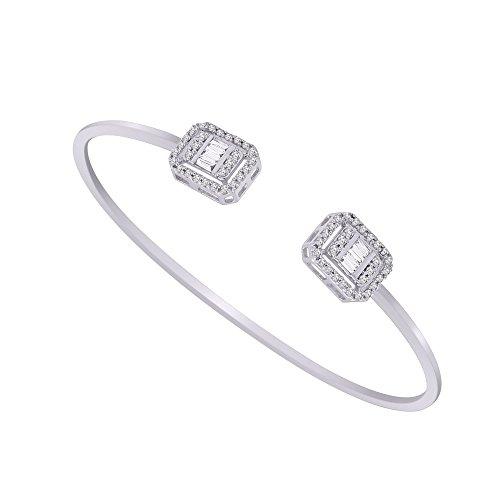 Bangle Bracelet Diamond Baguette (18K White Gold Round & Baguette Shape Natural Diamond Halo Adjustable Bangle Bracelet (0.68 Ct))