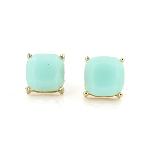 Simple Gold-tone Mint Green Square Stone Stud Earrings (Mint Green)