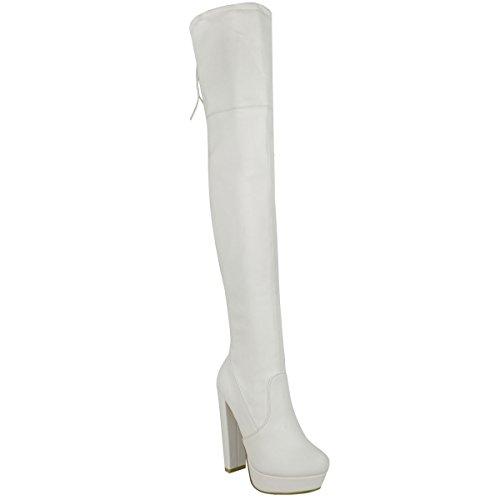 Fashi (White High Heel Boots)