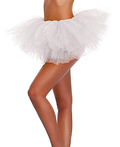 ELLITE Women's Multilayer Organza Elastic 3 or 5 Layered Tulle Skirt Dress Ballerina Pettiskirt Ballet Style Princess Tutu for Party, Valentines, Easter, Costumes, Dance or Fun Run-White, 5 Layer -