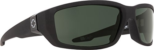 Spy Optic Men's Dirty Mo Rectangular, Soft Matte Black/Signature Happy Gray/Green Polar, 59 ()