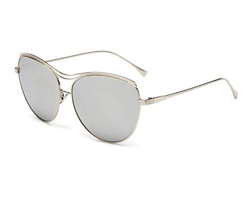 Gambit Original Costume (Konalla Oversized Full Metal Crossbar Flash Cat Eye Lens Sunglasses for Womens C3)