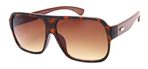Edge I-Wear Retro Square Bamboo Sunglasses with Gradient Lens by