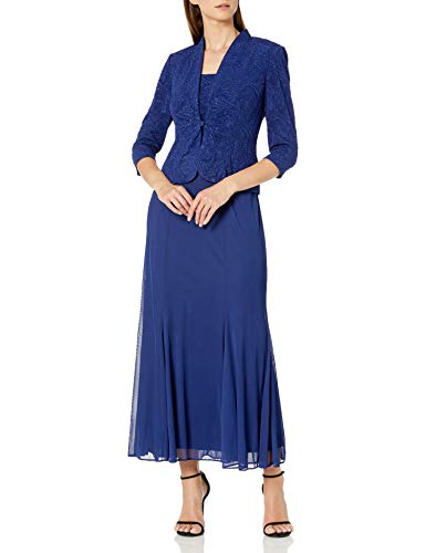 Alex Evenings Women's Long Length Blazer Jacket Dress (Petite and Regular), Electric Blue S, 14