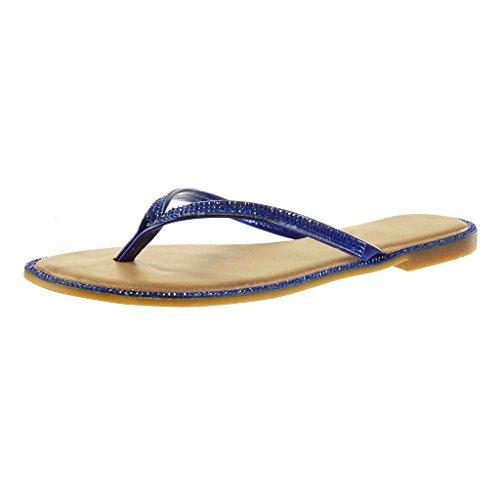 Angkorly - Chaussure Mode Sandale Tong femme strass diamant brillant Talon bloc 1 CM - Bleu