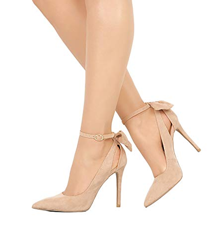 Womens High Heel Pumps Stiletto Pointed Toe Ankle Strap Bowtie D'Orsay Dress Shoes