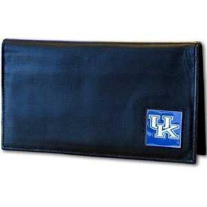 NCAA Kentucky Wildcats  Leather Checkbook (Black Enameled Cat)