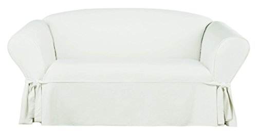 (SureFit SF44731 Essential Twill Loveseat Slipcover - White,Loveseat)