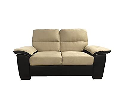 Divano Roma Classic Soft Microfiber and Bonded Leather Sofa and Loveseat Living Room Furniture Set