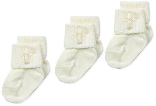 Jefferies Socks Baby Newborn Christening Turn Cuff Socks 3 Pair Pack, Pearl White, Infant