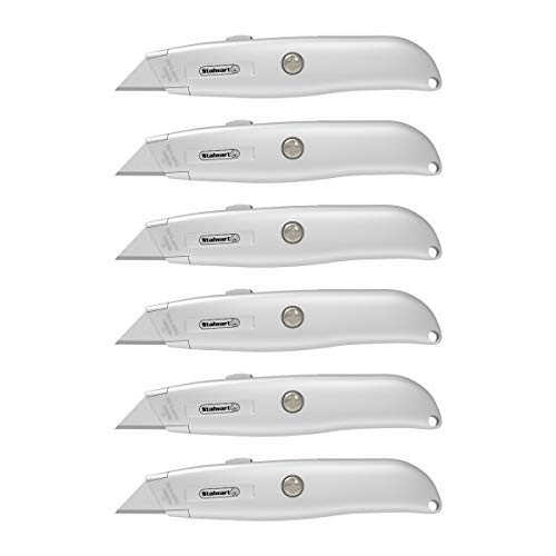 Standard Handle Retractable Ergonomic Knife - Stalwart Utility Knife with Retractable Blade – Ergonomic Aluminum Alloy Box Cutter with 3 Locking Positions and Carbon Steel Razors (Set of 6)