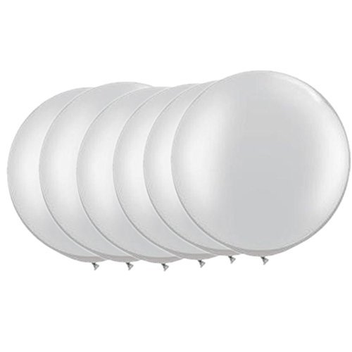 36 Inch Giant Latex Balloon Pearlescent White (Premium Helium Quality) Pkg/6 by OOOUSE (Big White Balloons)