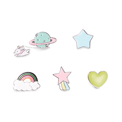 - TAO SHI Lapel Pin Set - Fashion Brooch Pins Planet Heart Star Rainbow Badges for Clothes Bags Backpacks, for Women Girls Teen Children Kawaii Cute Cartoon Enamel Jewelry Accessories