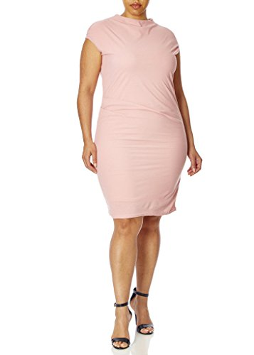 77838Xr Rse 2X  Love Collection Stretch Crepe Dress   Plus Size  High Neck With Cap Sleeves