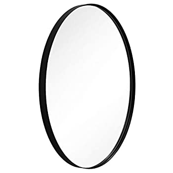 Image of ANDY STAR Oval Wall Mirror | 22x30x1'' Modern Black Bathroom Mirror with Stainless Steel Metal Frame 1'' Deep Set Design