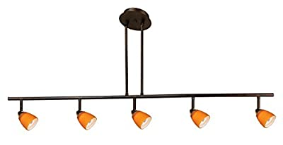 Cal Lighting SL-954-5-RU/AM Track Lighting with Amber Glass Shades, Rust Finish