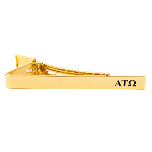 Desert Cactus Alpha Tau Omega Fraternity Silver/Gold Engraved Letter Tie Bar Greek Formal Occasion Standard Length Width (Gold Letter Tie Bar)