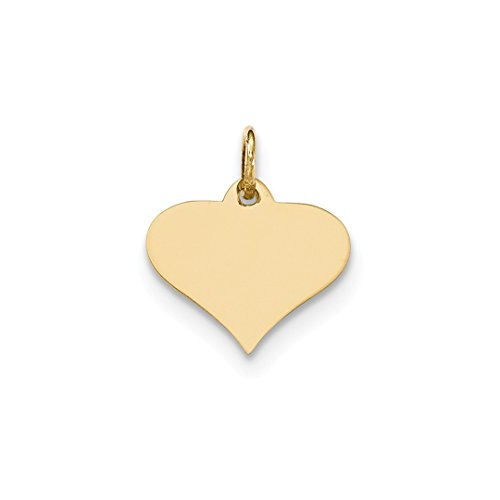 - 14k Yellow Gold .018 Gauge Engraveable Heart Disc Pendant Charm Necklace Engravable Shapely Fine Jewelry For Women Gift Set