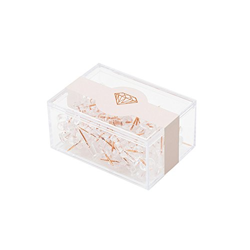 Character Push Pins - MultiBey Rose Gold Thumbtacks Creative Lucency Push Pins for Memo Board or Cork Board, Box of 100pcs