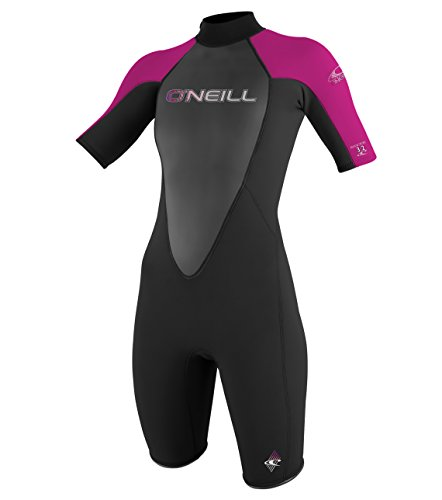 O'Neill  Women's Reactor 2mm Short Sleeve Back Zip Spring Wetsuit, Black/Berry,16