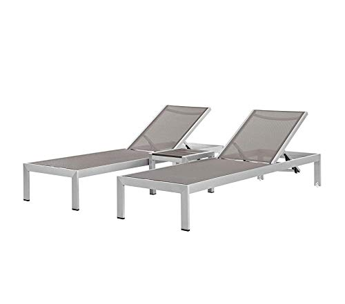 (Mоdwаy Patio Outdoor Garden Premium Aluminum Outdoor Patio Chair (Set of 3), Silver/Gray)