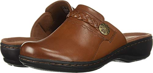 Large Tan Leather (CLARKS Women's Leisa Carly Clog, Dark tan Leather, 085 W US)