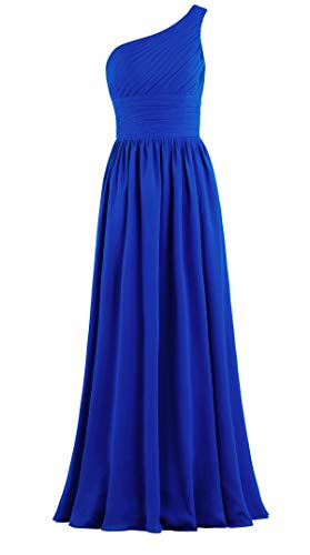 (ANTS Women's Pleat Chiffon One Shoulder Bridesmaid Dresses Long Evening Gown Size 16 US Royal Blue)
