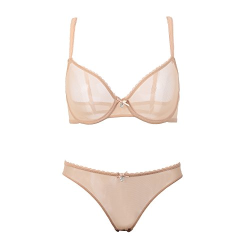 (Women Unlined Floral Embroidery Bra Set Non-Padded Comfort Support Underwire for Women (Beige 2, 36D))
