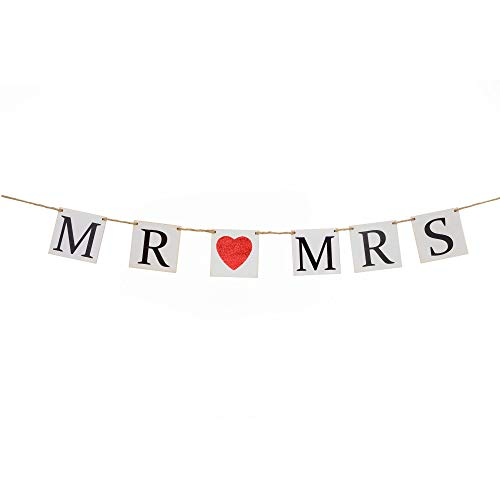 Ella Celebration Wood Banner Garland Wooden Tiles with Red Glitter Heart Sign Garland for Wedding Bridal Shower Bachelorette Party Decorations Photo Props Wedding Photos (Mr & Mrs)