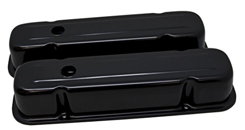 (1959-79 Compatible/Replacement for PONTIAC 301-326-350-389-400-421-428-455 V8 TALL STEEL VALVE COVERS - EDP BLACK)