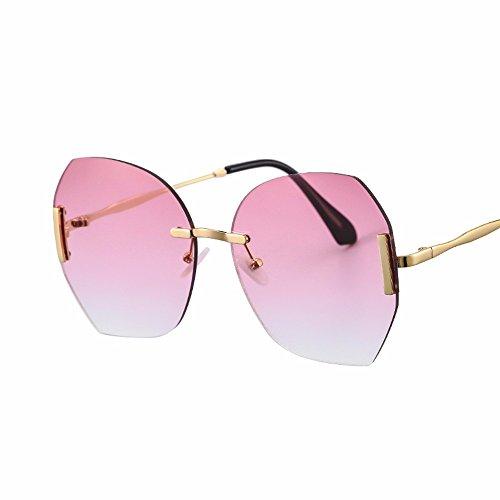 marea mujer retro sol claro Caja Rosa Elegante color coreana XIAOGEGE de grande gafas de gafas rosa versión la de WYFPwwq7c